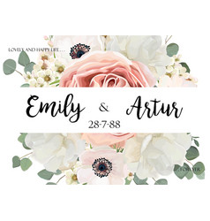 floral wedding invite save the date card design vector image