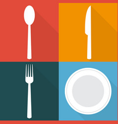 four backgrounds with dining items in flat vector image