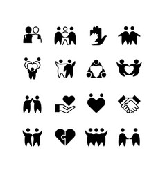 Friends buddies man hug line icons friendship vector