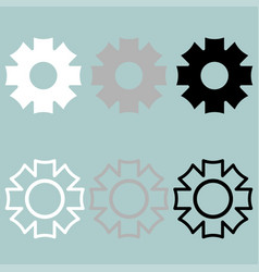 gear icon black grey white vector image