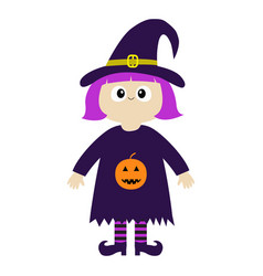 girl wearing witch costume curl hat orange vector image