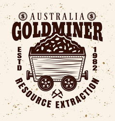 gold mining emblem with full rail trolley vector image