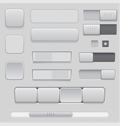 gray interface buttons and sliders 3d set of ui vector image