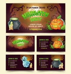 halloween party cartoon banners and vector image
