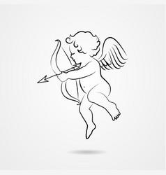 Hand drawn sketch of cupid vector