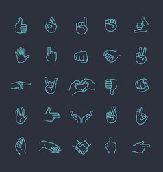 hand gestures thin line icon set vector image