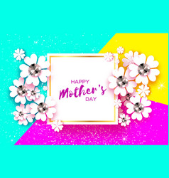 happy mothers day white floral greeting card with vector image