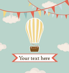 Hot air balloon in the sky with garland background vector