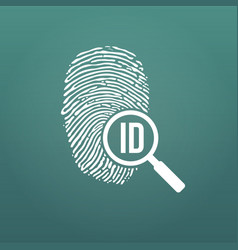 id fingerprint icon with magnifying glass vector image