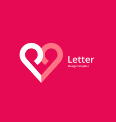Letter p heart logo icon design template elements vector