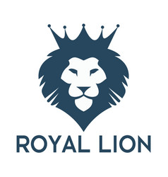 Lion head with crown logo design vector