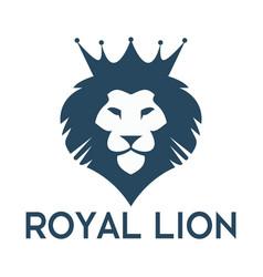 Lion Head With Crown Logo Design Vector