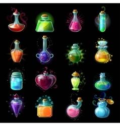 Magic Bottles Icon Set vector image