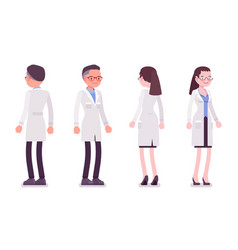 Male and female scientist standing vector