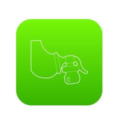 manual breast pump icon green vector image