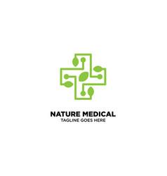 Nature medical logo template vector