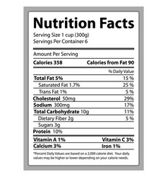Nutrition facts paper and info vector