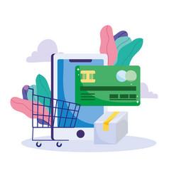 Online payment smartphone shopping cart bank card vector