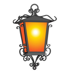 oold rustic detailed lantern on white vector image