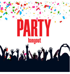Party hangout ribbon hands up people background ve vector