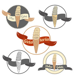 pisa ice cream logo set isolated on white vector image