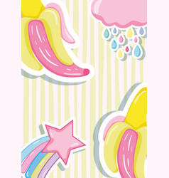 Punchy pastels bananas and stars vector
