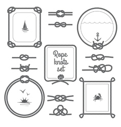 Rope Frames Black And White Set vector