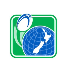 Rugby ball flying of globe with New zealand map vector