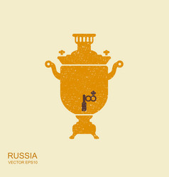 samovar flat icon with scuffed effect vector image