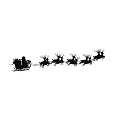 santa claus on sleigh with reindeers on on white vector image