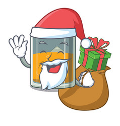 Santa with gift whiskey in a mascot shape vector