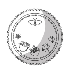 Seal stamp with flowers and butterflies vector