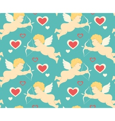 Seamless festive love pattern with cupid vector