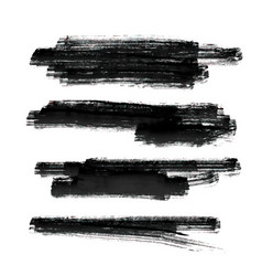 Set of black paint brush stroke background vector