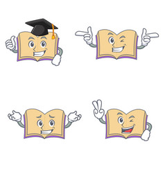 set of open book character with graduation wink vector image