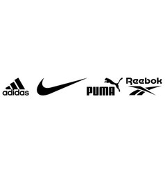 Set popular sportswear manufactures logos vector