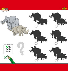 Shadows activity game with wild animals vector