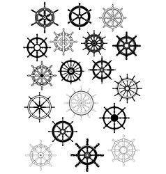 Ship wheel in retro style icon set vector