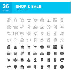 shop sale line web glyph icons vector image