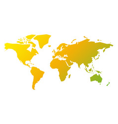 simplified silhouette of world map in yellow-green vector image