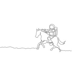 Single continuous line drawing cosmonaut vector