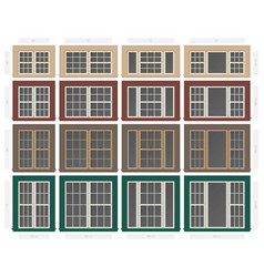 Single hung colonial style composite window set vector