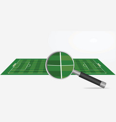 soccer field and magnifying glass vector image