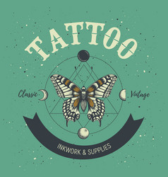 Tattoo studio poster classic and vintage tattoo vector