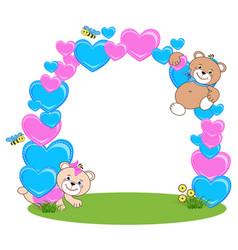 Teddy bear with heart frame vector