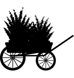 The cart with flowers silhouette vector