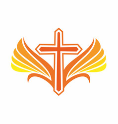 The cross of jesus and wings vector