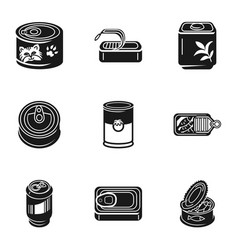 Tin can fish icon set simple style vector
