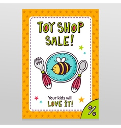 Toy shop sale flyer design baby tableware - plate vector image