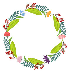 Tropical flowers wreath vector